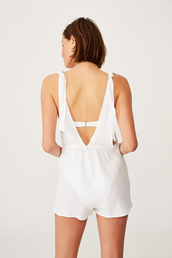Beach Playsuit, WHITE