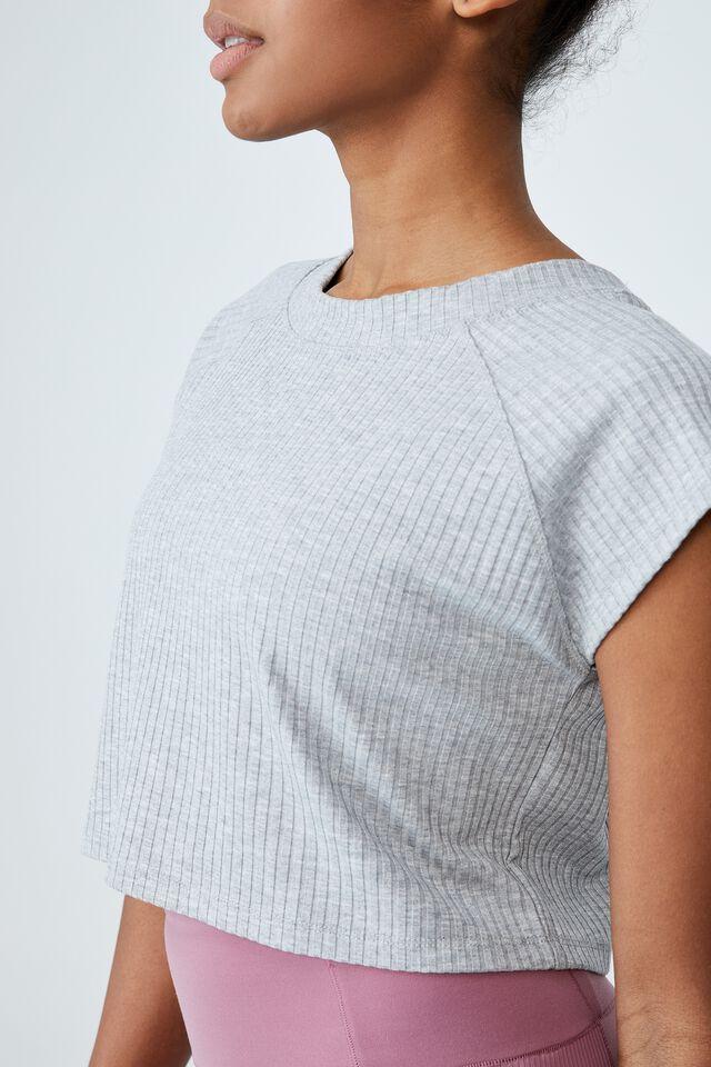 Rib Cropped T-Shirt, GREY MARLE