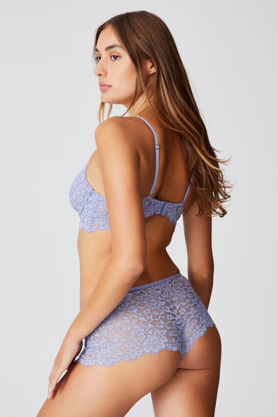 Ivy Lace Shorty Brief, PERIWINKLE