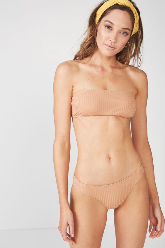 Olivia Rib Classic Full Bikini Bottom, MAPLE