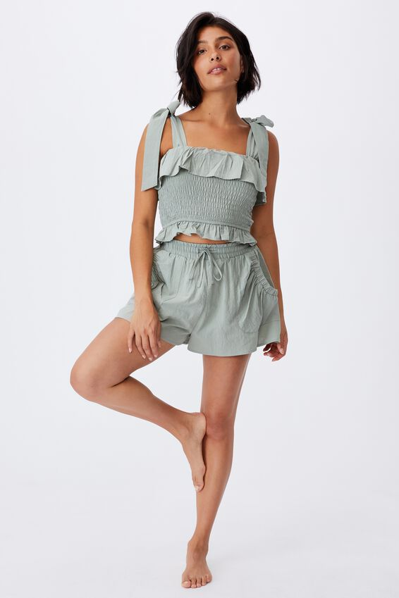 Tie Shoulder Shirred Beach Top, KHAKI