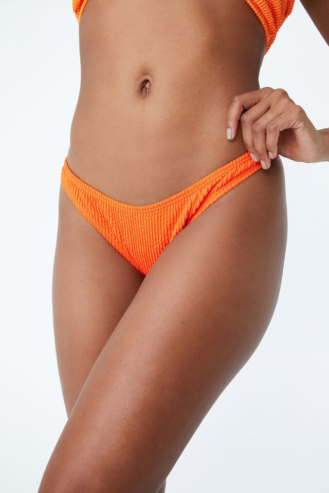 High Side Brazilian Seam Bikini Bottom, CARROT CAKE CRINKLE