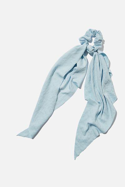 Beth Long Scarf Scrunchie, BLUE HAMMERED SATIN