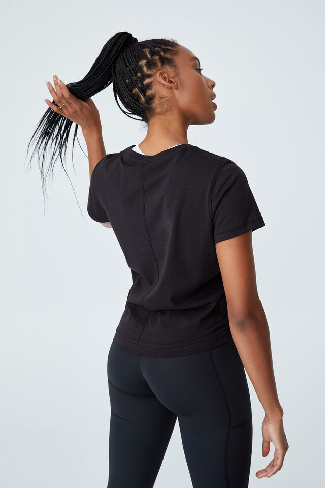 Active Cross Front Tshirt, BLACK