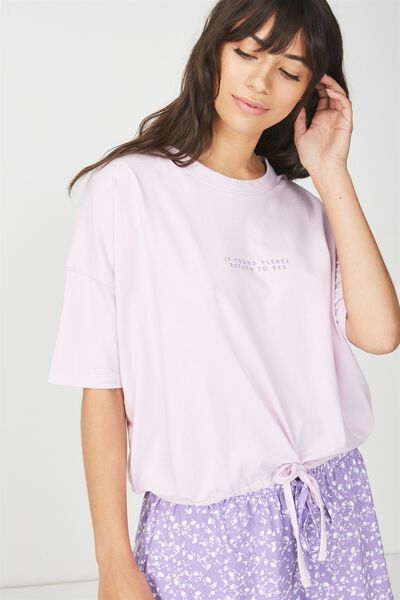 Jersey Tie T Shirt, PASTEL LILAC/IF FOUND