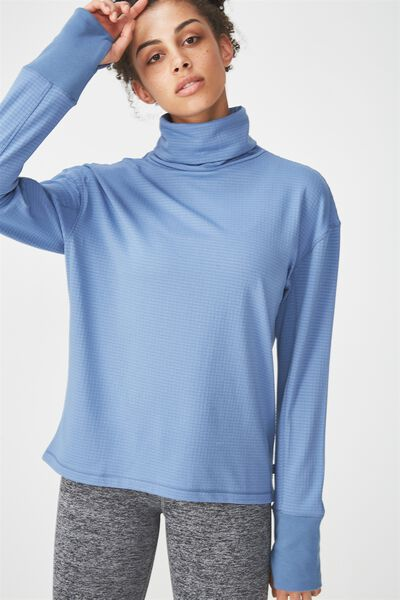 Waffle Tunnel Neck Longsleeve Top, CHALKY BLUE