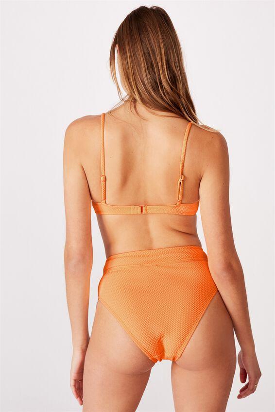 Highwaisted Banded Cheeky Bikini Bottom, MANGO TEXTURE