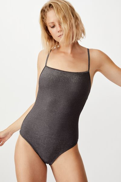 Straight Neck One Piece Cheeky, BLACK SHIMMER