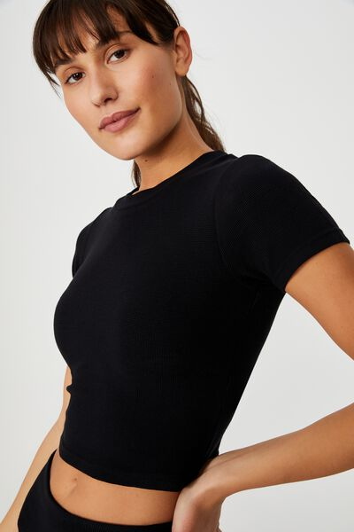 Waffle T-Shirt, BLACK