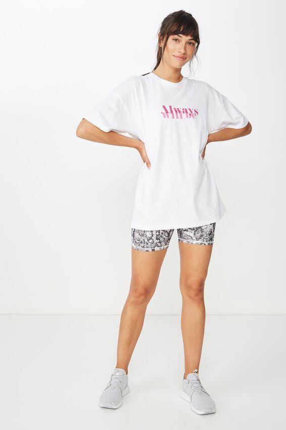 Boyfriend Placement Print T Shirt, WHITE/ALWAYS