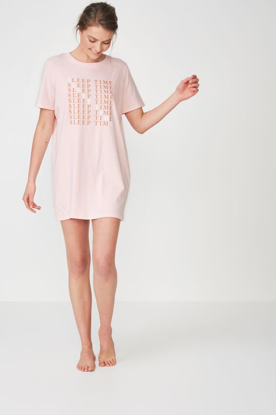 Boxy Tshirt Nightie, CRYSTAL PINK/SLEEP TIME