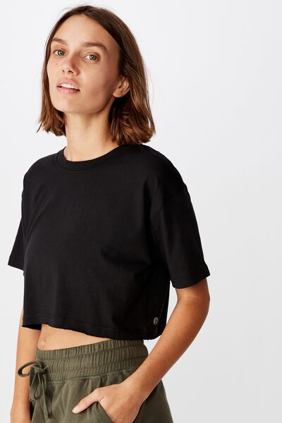 Active Cropped Tshirt, BLACK