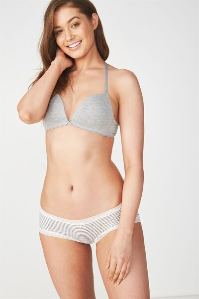 Super Soft Comfy Bum Brief, GREY MARLE/CREAM STRIPE