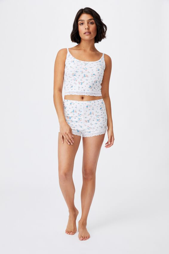 Rib Lace Sleep Cami, ROSE FLORAL WHITE