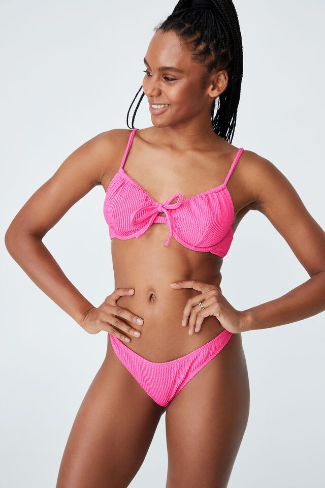 High Side Brazilian Seam Bikini Bottom, AURORA PINK CRINKLE
