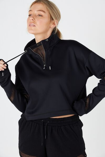 Luxe Tunnel Cropped Long Sleeve Top, BLACK