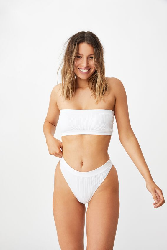 Seamfree Rib Bandeau With Cups, WHITE
