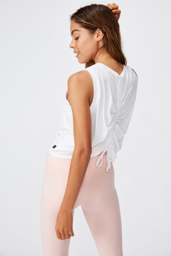Active Ruched Muscle Tank, WHITE