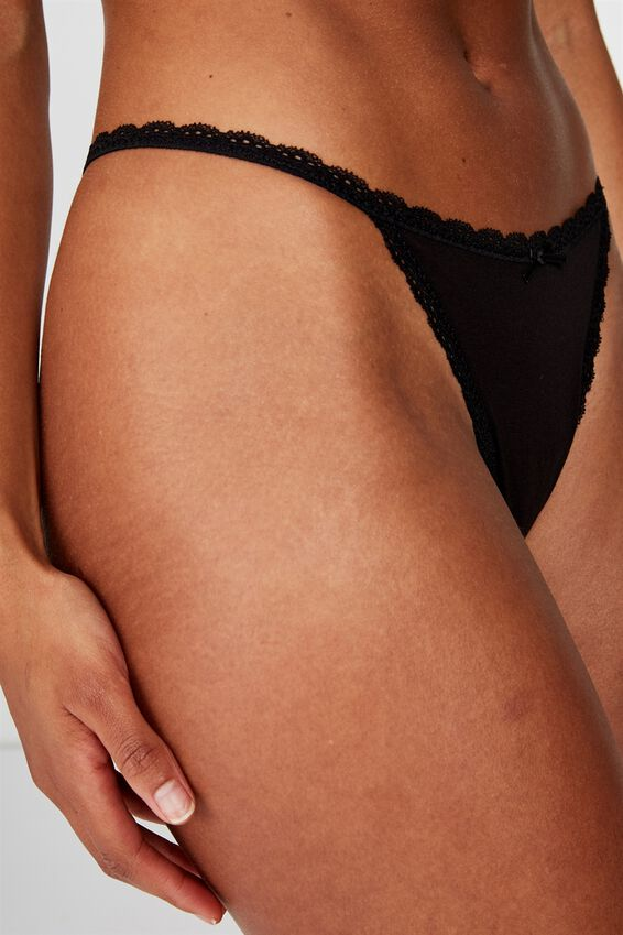 Charlotte Lace Trim G-String Brief, BLACK