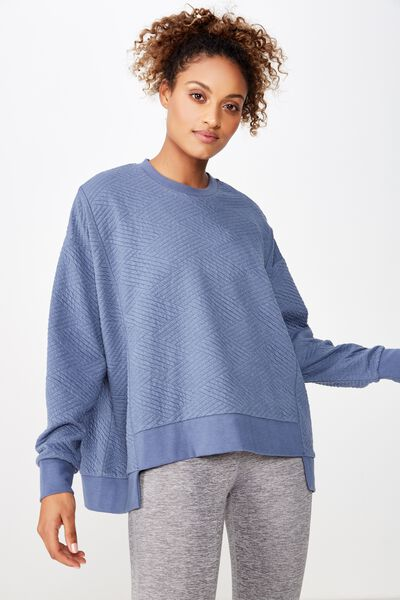 Step Up Hem Textured Longsleeve, STORM BLUE