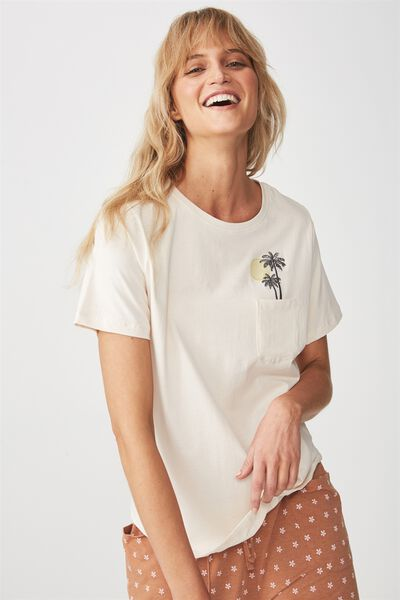 Jersey Scoop T Shirt, STRAW/TROPICAL POCKET