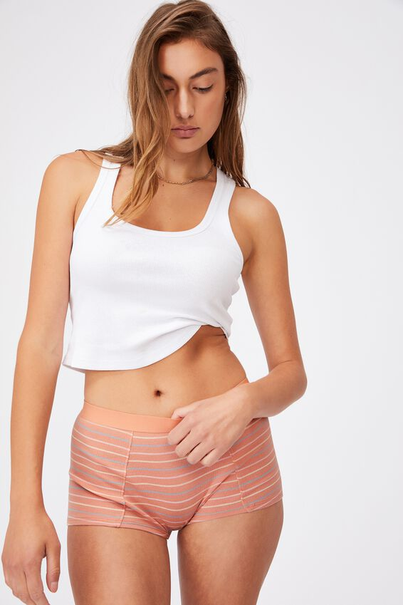 Organic Cotton Shorty Brief, MULTI STRIPE ROSE CLOUD RIB