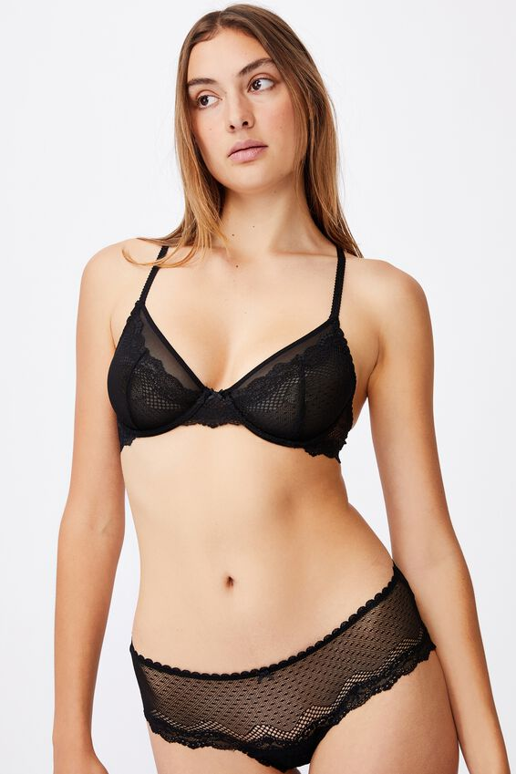 Stevie Lace Underwire Bra, BLACK