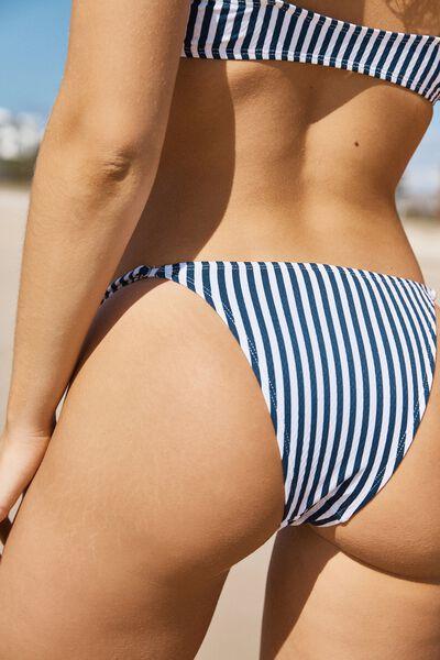 Tanga Brazilian Bikini Bottom, BLUE STRIPE