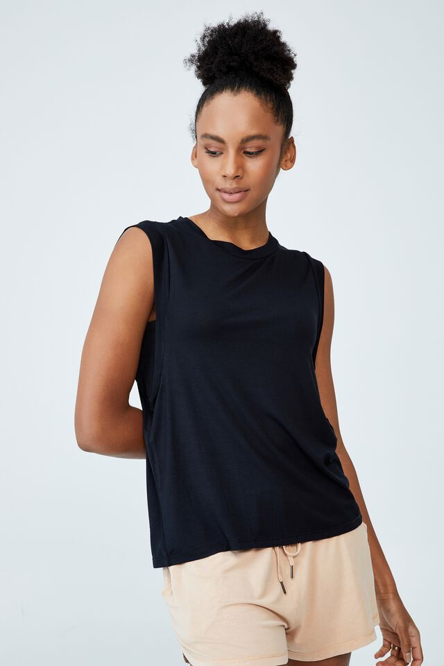 Sleep Recovery Extended Shoulder Tank, BLACK