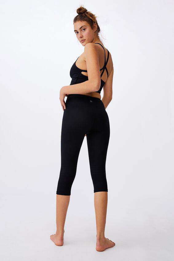 Jacquard Stripe Capri Tight, BLACK