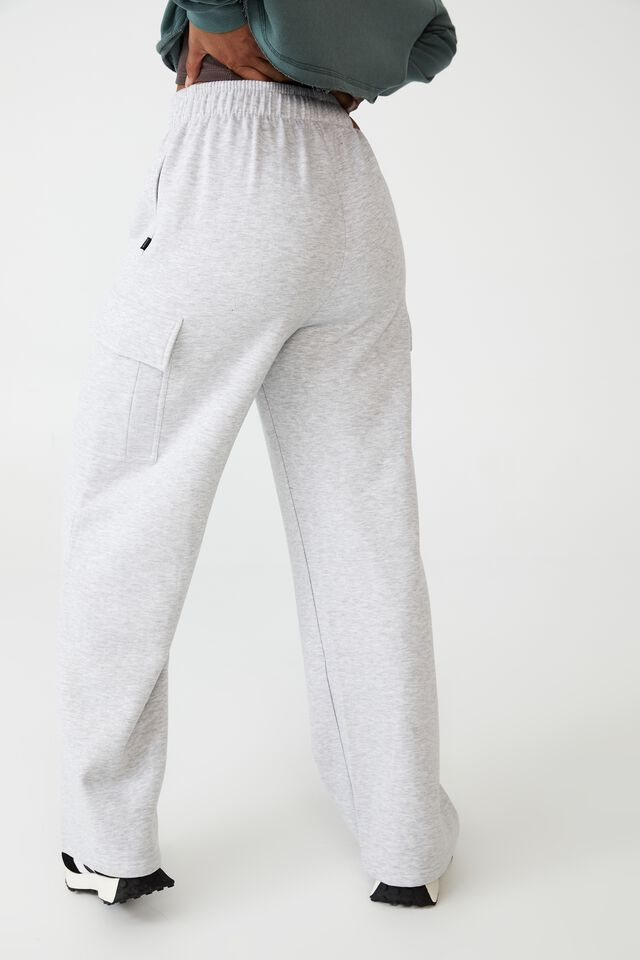 Lifestyle Cargo Wide Leg Track Pant, CLOUDY GREY MARLE