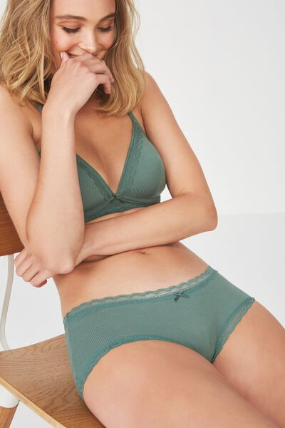 Rib & Lace Comfy Bum Boy Short Brief, FERN GREEN