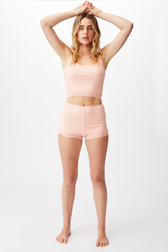 Rib Lace Sleep Short, ROSE QUARTZ