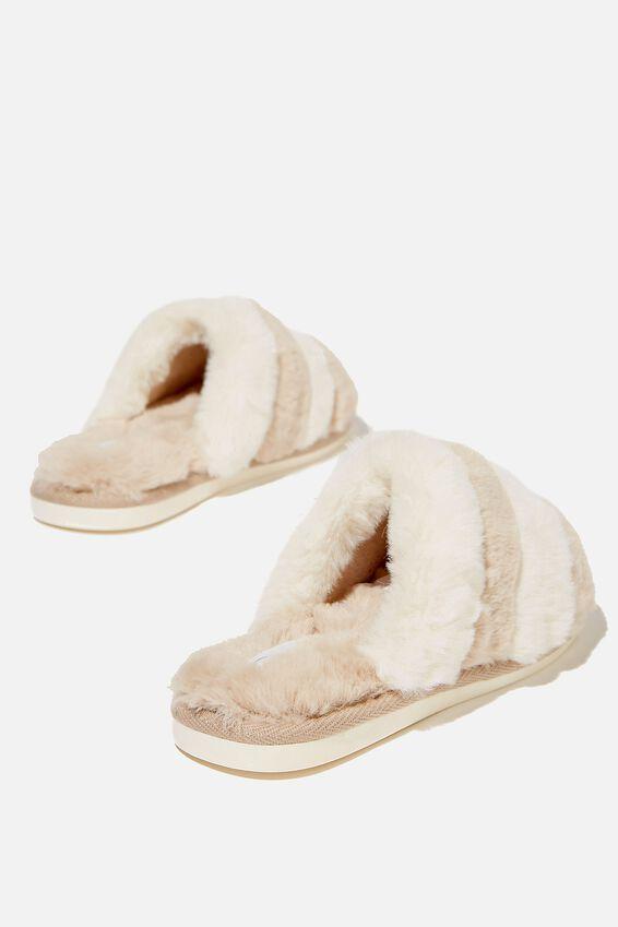 Fluffy Slide Slipper, BUTTERMILK MULTI