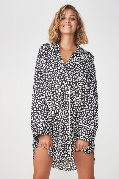 Satin Shirt Nightie, SIMPLE LEOPARD