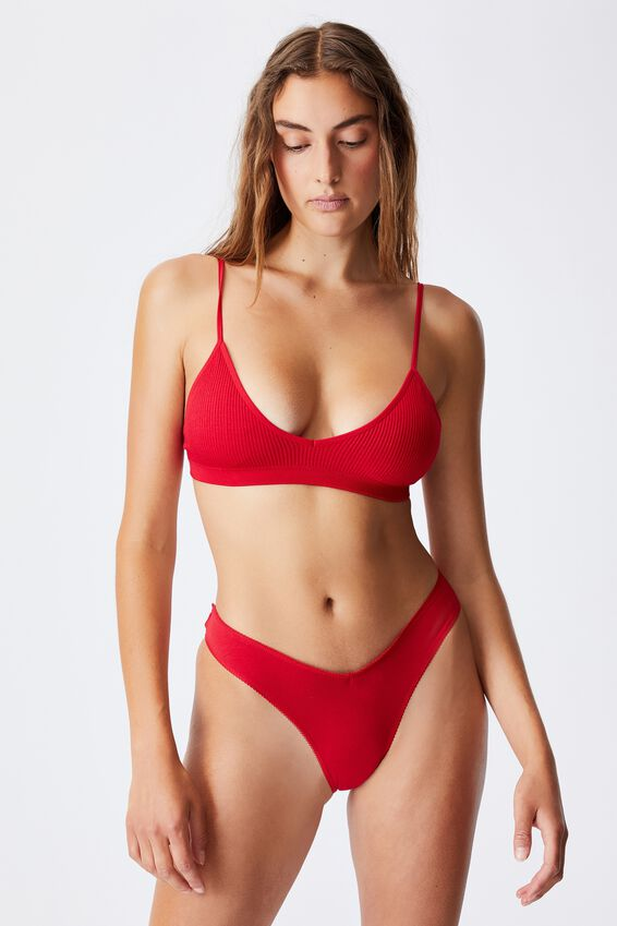 Seamfree Triangle Bralette With Cups, TRUE RED