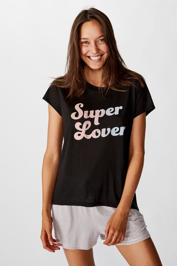 Dreamy Sleep T-Shirt, SUPER LOVE/BLACK