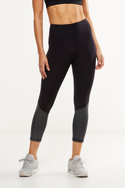 Luxe Reflective 7/8 Tight, BLACK/SILVER
