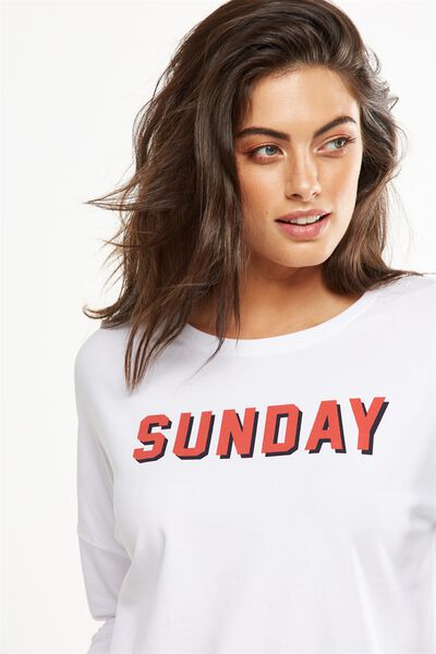 Match Back Dropped Shoulder Top, WHITE/SUNDAY