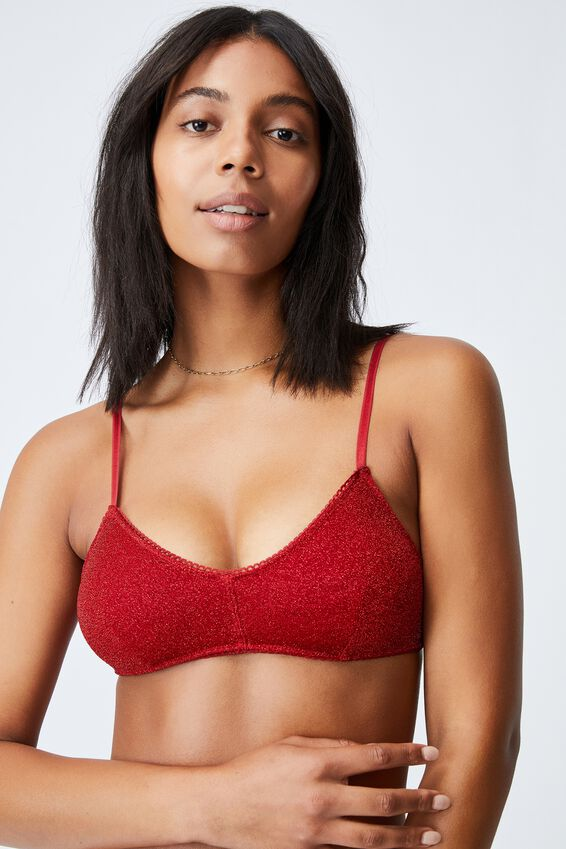 Holly Sparkle Bralette With Cups, RED SPARKLE