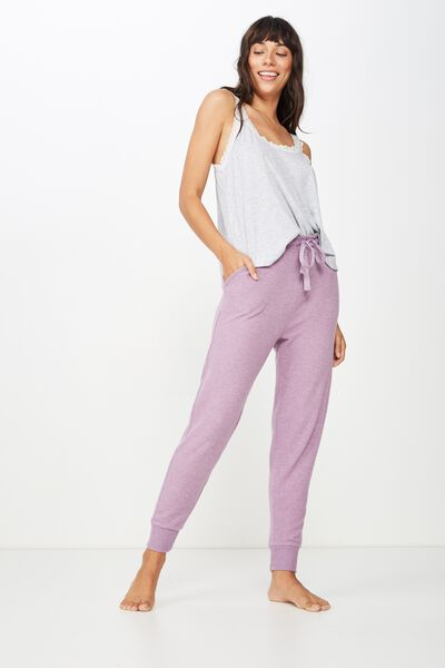 Supersoft Slim Fit Pant, PURPLE DOVE MARLE
