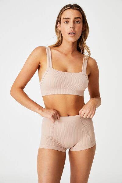 Seamless Chunky Straight Neck Crop, NEW LATTE