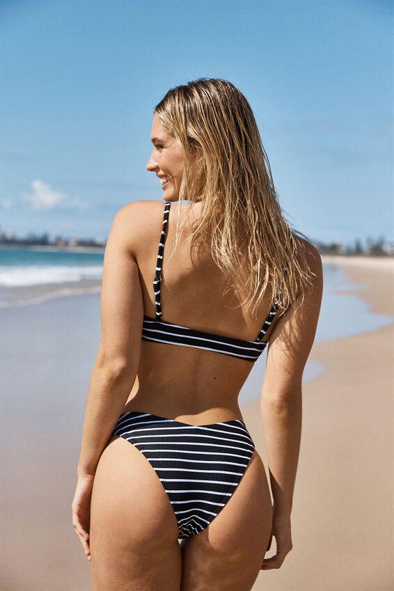 High Side Brazilian Bikini Bottom, BLACK & WHITE STRIPE RIB
