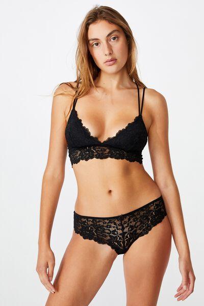Ivy Lace Bikini Brief, BLACK