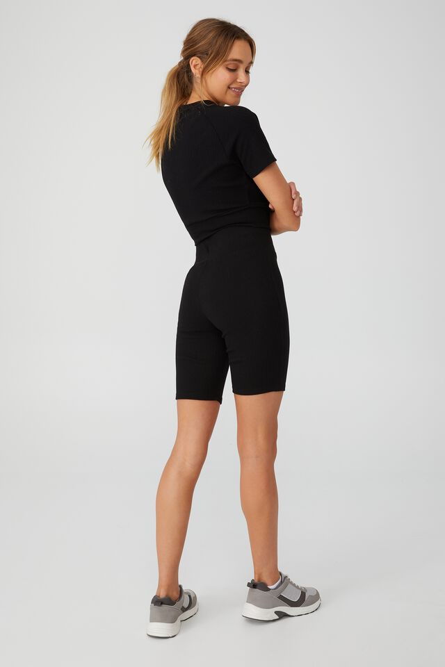 Lifestyle Rib Mid Length Bike Short, BLACK