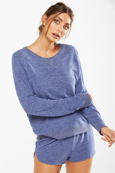 Super Soft Crew Neck Top, FROSTED BLUE MARLE