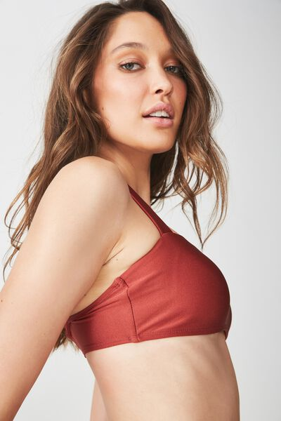 Pia Square Neck Bandeau Bikini Top, RUST SHIMMER