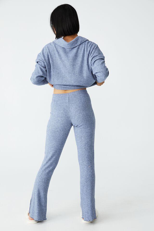 Petite Super Soft Textured Pant, BLUE YONDER MARLE