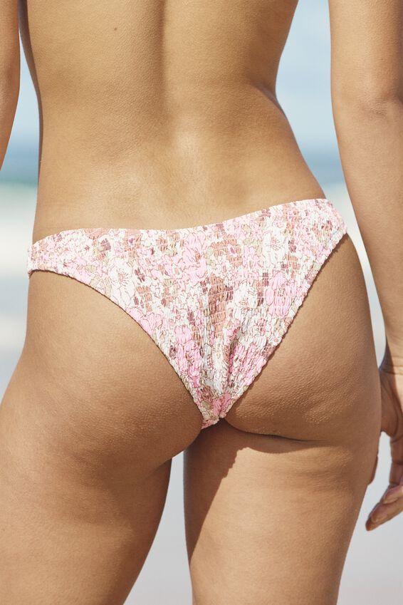 Refined High Side Brazilian Bikini Bottom, RETRO FLORAL PINK SHIRRED