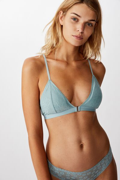 Ava Wirefree Front Closure Bralette, WILLOW GREEN
